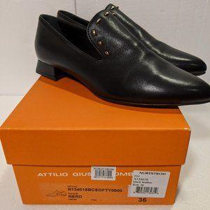 AGL Black Loafer Silver Studs